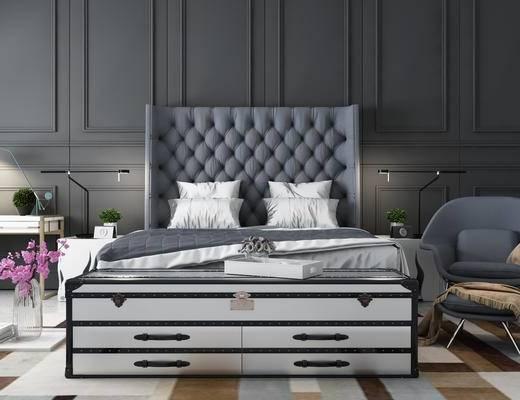 法式卧室, 床, 床头柜组合, 床具, 台灯