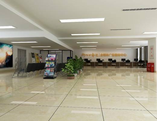 等待室, 办公区, 单人椅, 电脑, 盆栽, 办公椅, 绿植植物, 墙饰, 杂志, 装饰架, 现代
