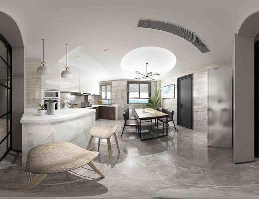 现代客餐厅组合, 餐桌椅, 开放式厨房, 橱柜, 吧台椅组合, 吊灯, 沙发组合, 茶几