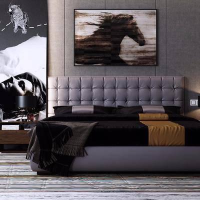 双人床, 装饰画, 床头柜, 台灯, 摆件, 现代