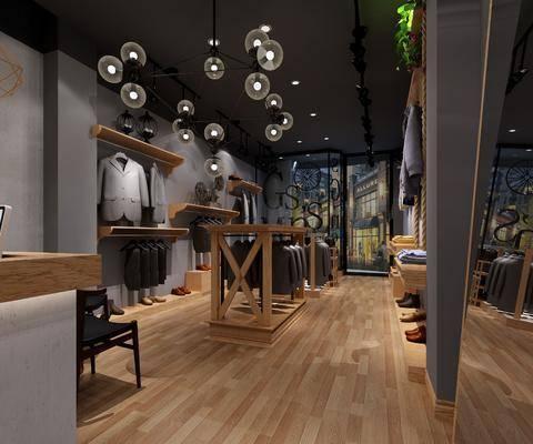 服装店, 衣架, 单人椅, 前台, 电脑, 服装, 西服, 毛衣, 鞋子, 吊灯, 装饰镜, 工业风