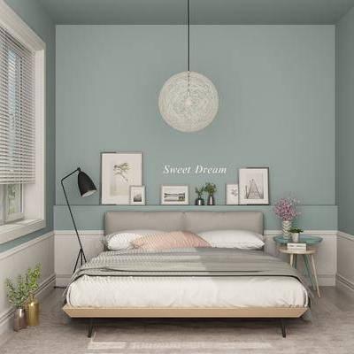 北欧, 现代, 卧室, 落地灯, 装饰画, 挂画, 吊灯, 盆栽, 花瓶, 边几