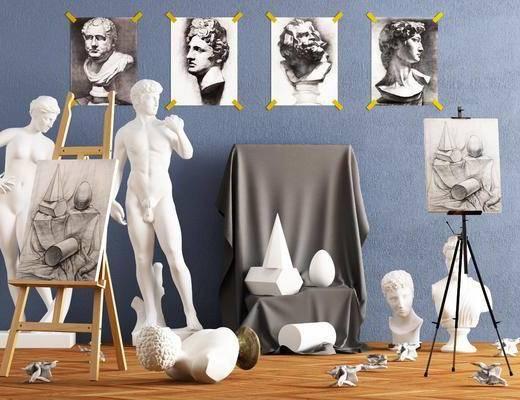 雕塑像, 雕塑雕像, 人物画, 美术画室, 现代