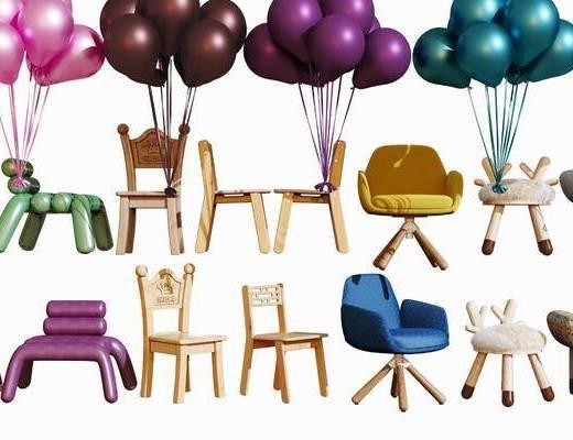 现代儿童椅, 卡通椅, 幼儿园椅子