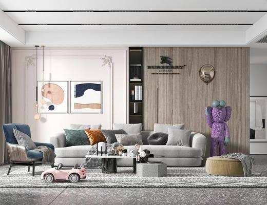 现代, 客厅, 多人沙发, 边几, 装饰画, 盆栽