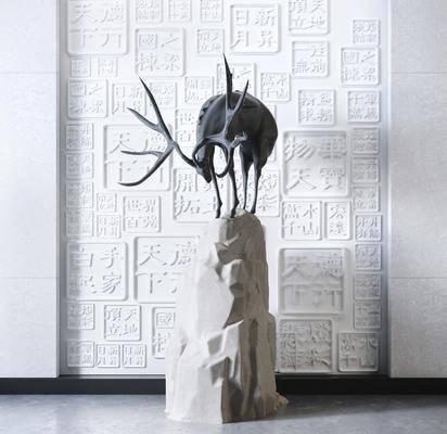 新中式, 玄关, 雕塑, 摆件