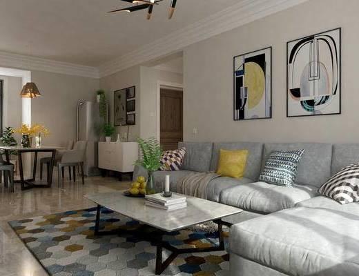 北欧, 客厅, 沙发, 茶几, 灯具, 餐桌椅