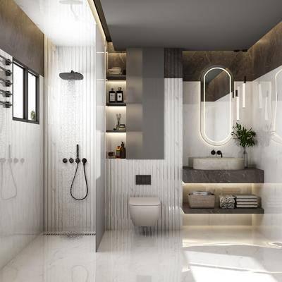 卫浴, 洗手盆, 壁镜, 马桶, 植物, 浴柜