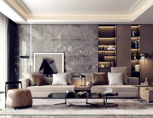 沙发组合, 茶几, 摆件组合, 装饰画, 落地灯