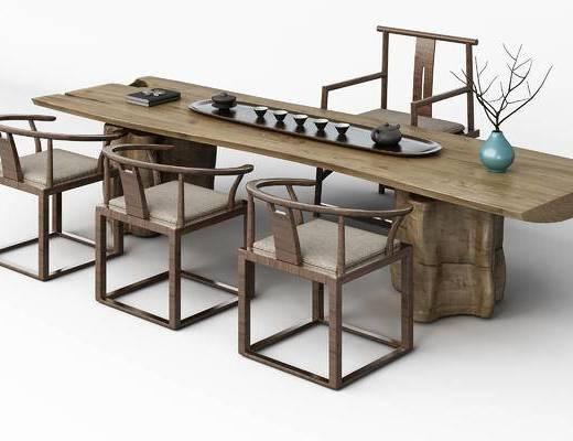 中式, 茶桌, 茶具, 花瓶, 椅子, 单椅
