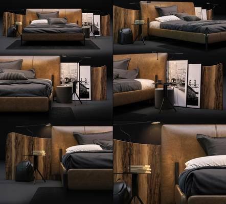 双人床, 床头板, 边几, 装饰画, 台灯, 地毯, 床具组合, 现代
