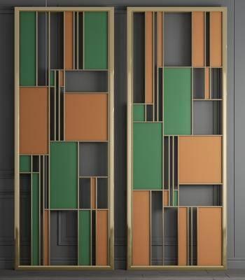 金属铁艺, 彩色玻璃, 屏风组合, 工业风