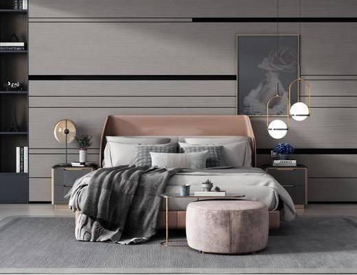 双人床, 床具组合, 吊灯, 装饰画, 床头柜