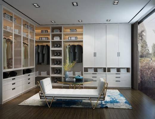 衣柜, 装饰柜, 躺椅, 茶几, 服饰, 摆件, 现代