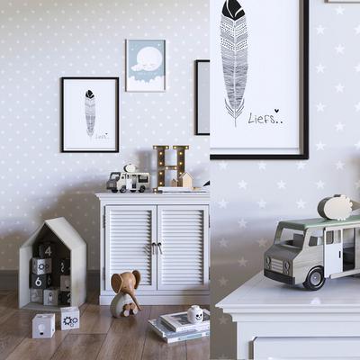 现代儿童家具模型组合, 现代, 儿童家具, 装饰画, 柜子, 玩具