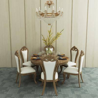 餐桌, 椅子, 圆几, 单椅, 花瓶, 花卉, 餐具, 吊灯, 美式