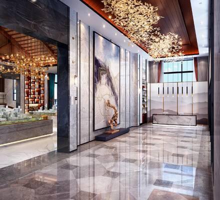 新中式售楼处前台, 挂画, 摆件, 吊灯