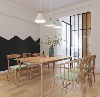 北欧餐桌椅, 餐桌椅, 桌椅组合