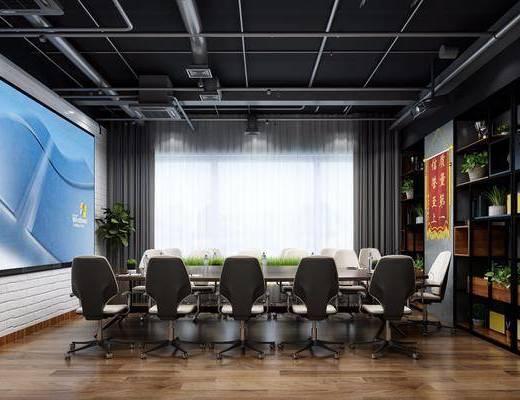 会议室, 装饰架, 会议桌, 办公桌, 单人椅, 盆栽, 绿植植物, 摆件, 装饰品, 陈设品, 工业风