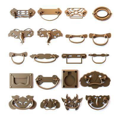 金属拉手, 门把手, 中式
