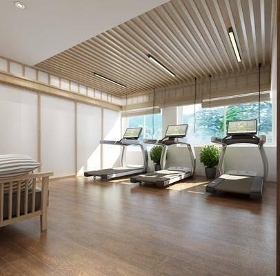 健身房, 跑步室, 跑步机, 现代