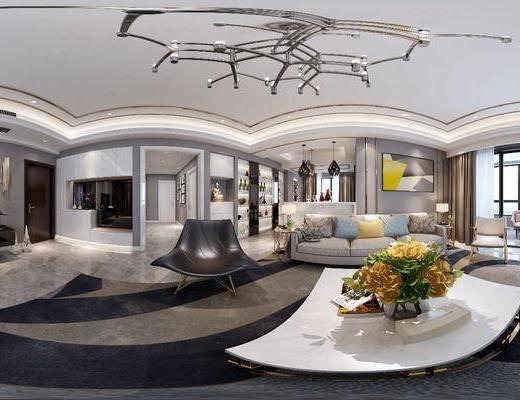 客廳, 家裝全景, 沙發組合, 沙發茶幾組合, 單人椅組合, 現代