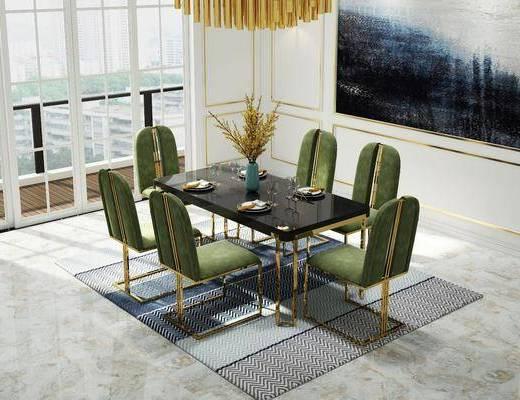 桌椅组合, 餐桌, 餐椅, 单人椅, 餐具, 花瓶花卉, 壁灯, 吊灯, 地毯, 后现代
