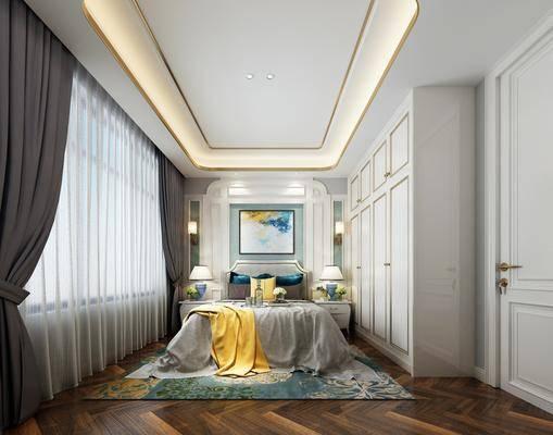 卧室, 双人床, 床头柜, 台灯, 壁灯, 衣柜, 装饰柜, 装饰画, 挂画, 简欧