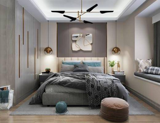 卧室, 双人床, 脚踏沙发, 吊灯, 床头柜, 衣柜, 墙饰, 摆件, 装饰品, 陈设品, 现代