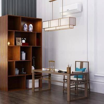 装饰柜, 摆件, 书桌, 吊灯, 单人椅, 中式