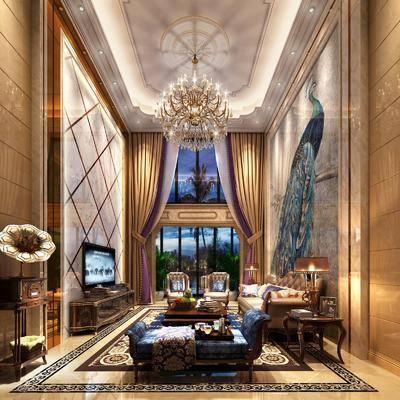 欧式客厅, 欧式别墅, 欧式, 欧式沙发, 欧式吊灯, 留声机, 欧式电视柜