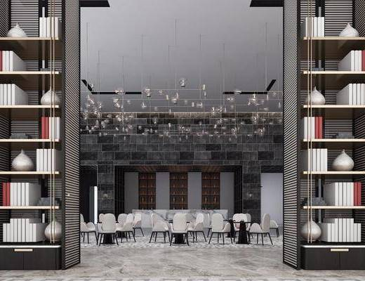 酒店大堂, 餐桌, 餐椅, 单人椅, 书籍, 装饰品, 陈设品, 吊灯, 现代
