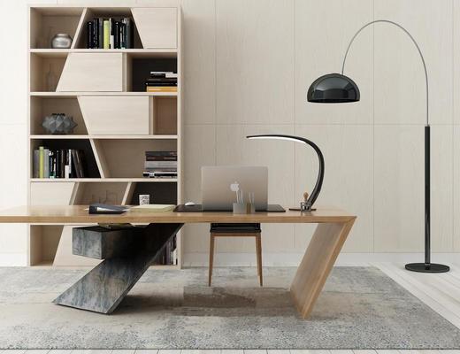 现代简约, 书桌椅组合, 书柜, 落地灯, 电脑
