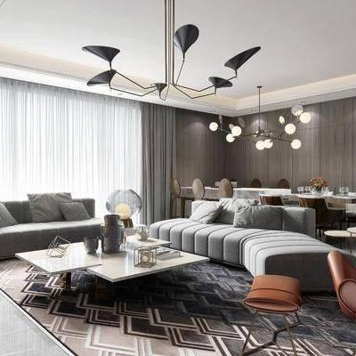 多人沙发, 布艺沙发, 单人沙发, 餐桌, 餐椅, 茶几, 摆件, 吊灯, 现代