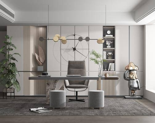 现代书房, 书桌椅, 摆件