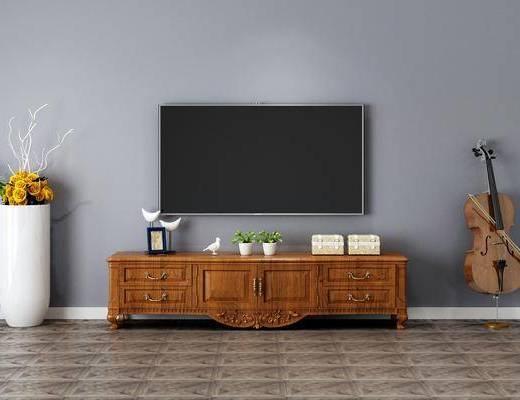 電視柜, 擺件組合, 花盆, 植物