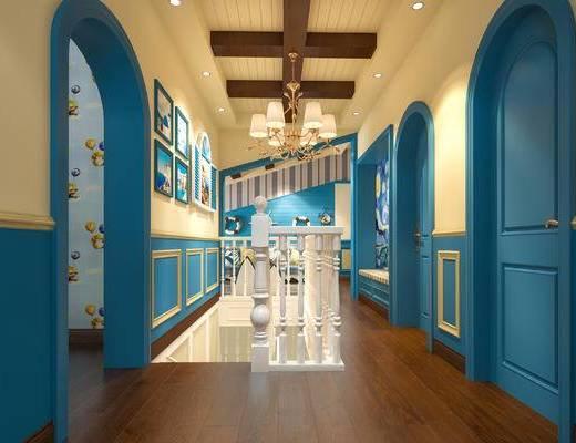 地中海, 楼梯, 过道, 走廊, 会客厅, 洽谈