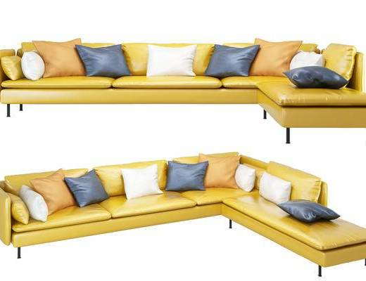 现代, 多人沙发, 转角沙发, 黄色, 皮艺沙发