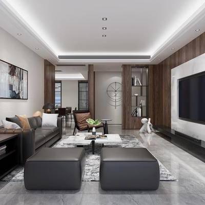 现代客餐厅, 现代, 现代客厅, 沙发组合, 装饰画, 台灯, 餐桌椅