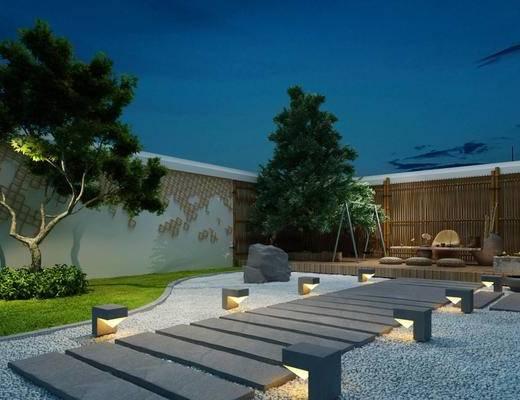 庭院, 日式, 景观, 茶室, 新中式