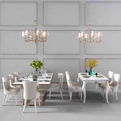 欧式餐桌椅, 餐桌椅, 椅子, 花瓶, 绿植, 吊灯