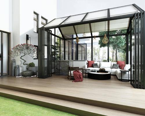 花园庭院, 阳光房, 多人沙发, 转角沙发, 茶几, 单人沙发, 盆栽, 干树枝, 石狮子, 现代
