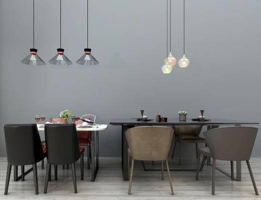 现代餐桌椅组合, 吊灯, 碗碟, 摆件, 现代