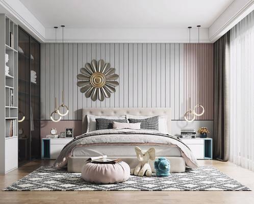 双人床, 床头柜, 挂饰, 墙饰, 衣柜