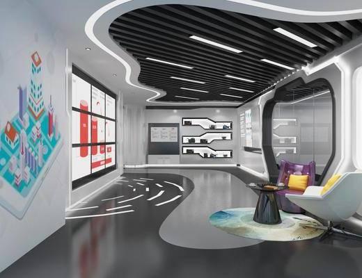 企业展厅, 展览展厅, 单人沙发, 桌子, 广告牌, 边几, 现代