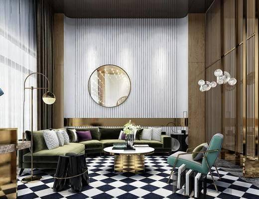 售楼处, 现代轻奢售楼处, 沙发组合, 茶几