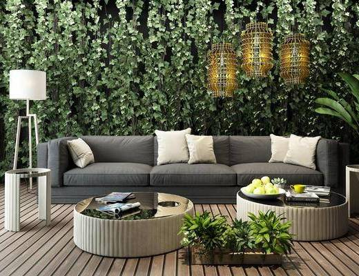 植物墙, 沙发组合, 茶几, 吊灯, 落地灯, 摆件组合, 抱枕