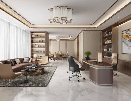 办公室, 桌子, 椅子, 沙发组合, 吊灯, 经理室
