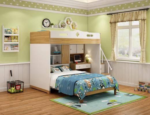 单人床, 上下铺, 墙饰, 桌椅组合, 窗帘, 地毯