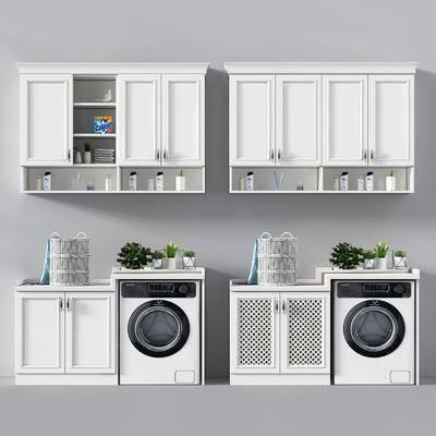 洗衣机, 吊柜, 现代, 盆栽, 洗漱用品, 植物